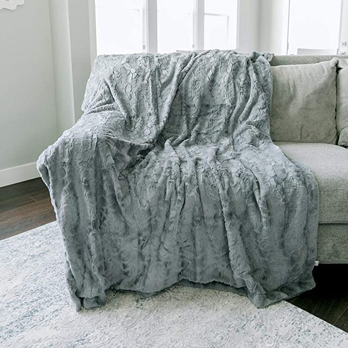 """GRACED SOFT LUXURIES Softest Warm Elegant Cozy Faux Fur Home Throw Blanket (Solid Gray, Extra Large 60"""" x 80"""")"""
