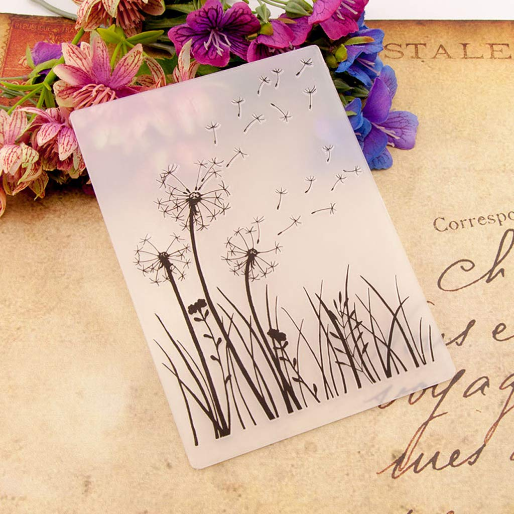Yazierstyuor Plastic Embossing Folder Template DIY Scrapbook Photo Album Card Making Decoration Crafts Dandelion