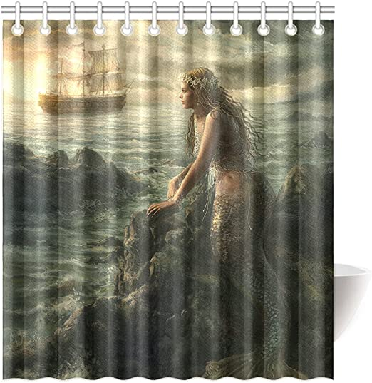 Beautiful Mermaid Art Shower Curtain Abstract Sea /& Boat Polyester Fabric 66 72