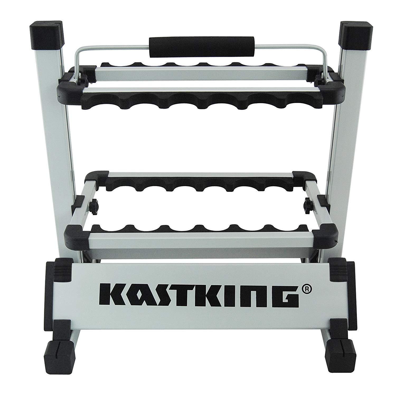 KastKing Rack 'em Up Portable Aluminum Fishing Rod Holder - 12 Rods Rack SilverBlack by KastKing (Image #2)