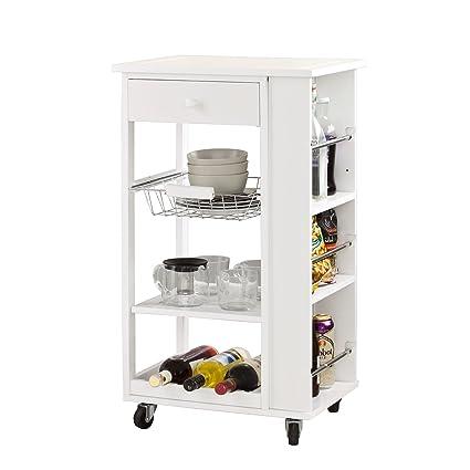 SoBuy® Carrito de servir, carrito de cocina, blanco, FKW12-W,ES ...