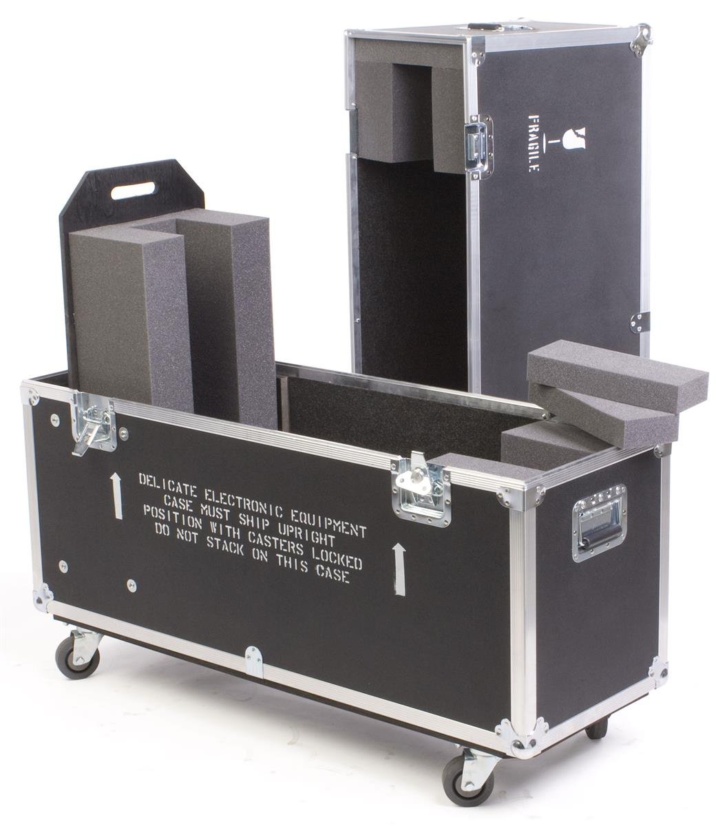 Flat Panel TV Travel Case, With Wheels And Handles, And EVA Foam Interior For 1 TV - Black Laminate Plywood