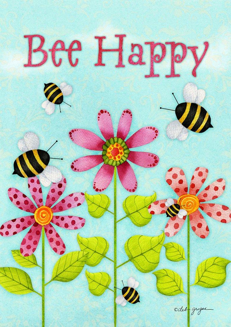 Amazon.com : Bee Happy Spring Garden Flag Flower Blooms Bumblebees ...