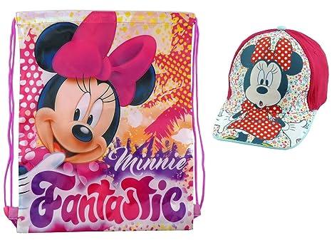 c2c82f0bdf Minnie Cappello Estivo bambina Visiera + Sacca zaino zainetto a sacco Disney