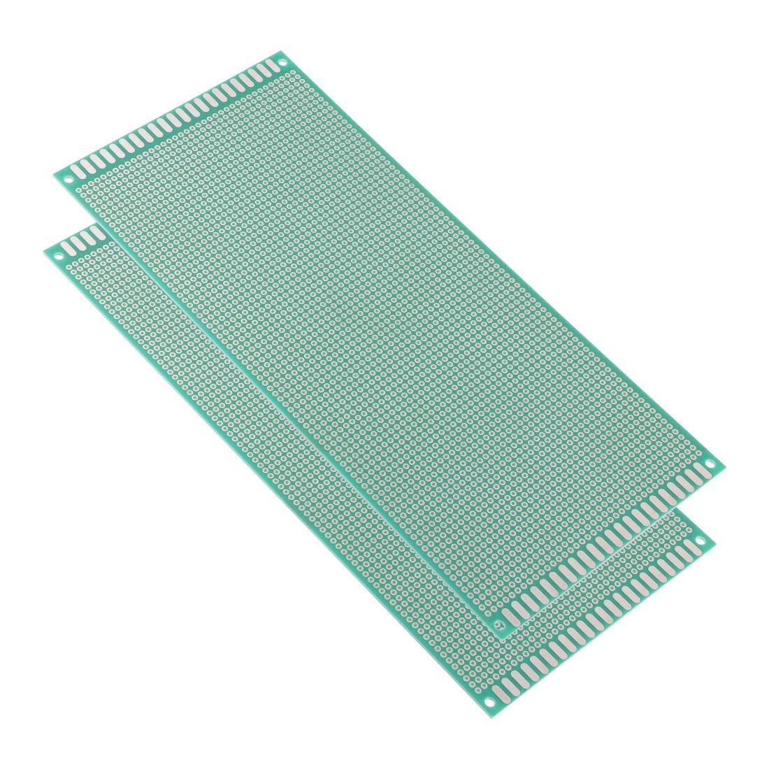 Sourcingmap grosor de 1,6 mm, 2 unidades, 10 x 22 cm Placa de circuito impreso universal para soldadura color verde