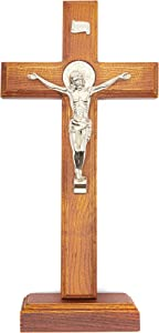 Juvale Wood Catholic Crucifix Cross with Stand, 12 Inches