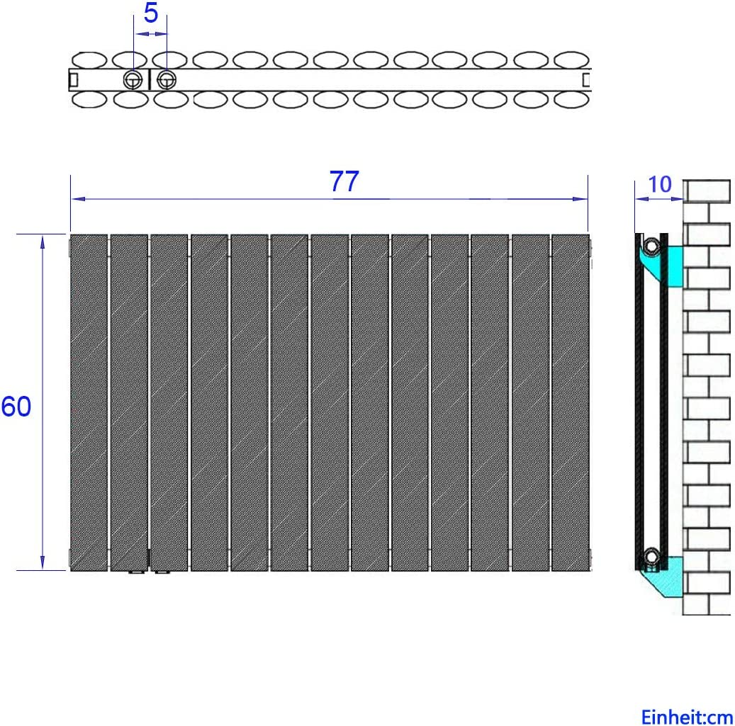 Bath-mann Design Heizk/örper Oval Heizk/örper Heizung 600 x 770 mm 1222 Watt Horizontaler Oval Paneelheizk/örper Heizung Seitenanschluss Doppellagig Antrazit