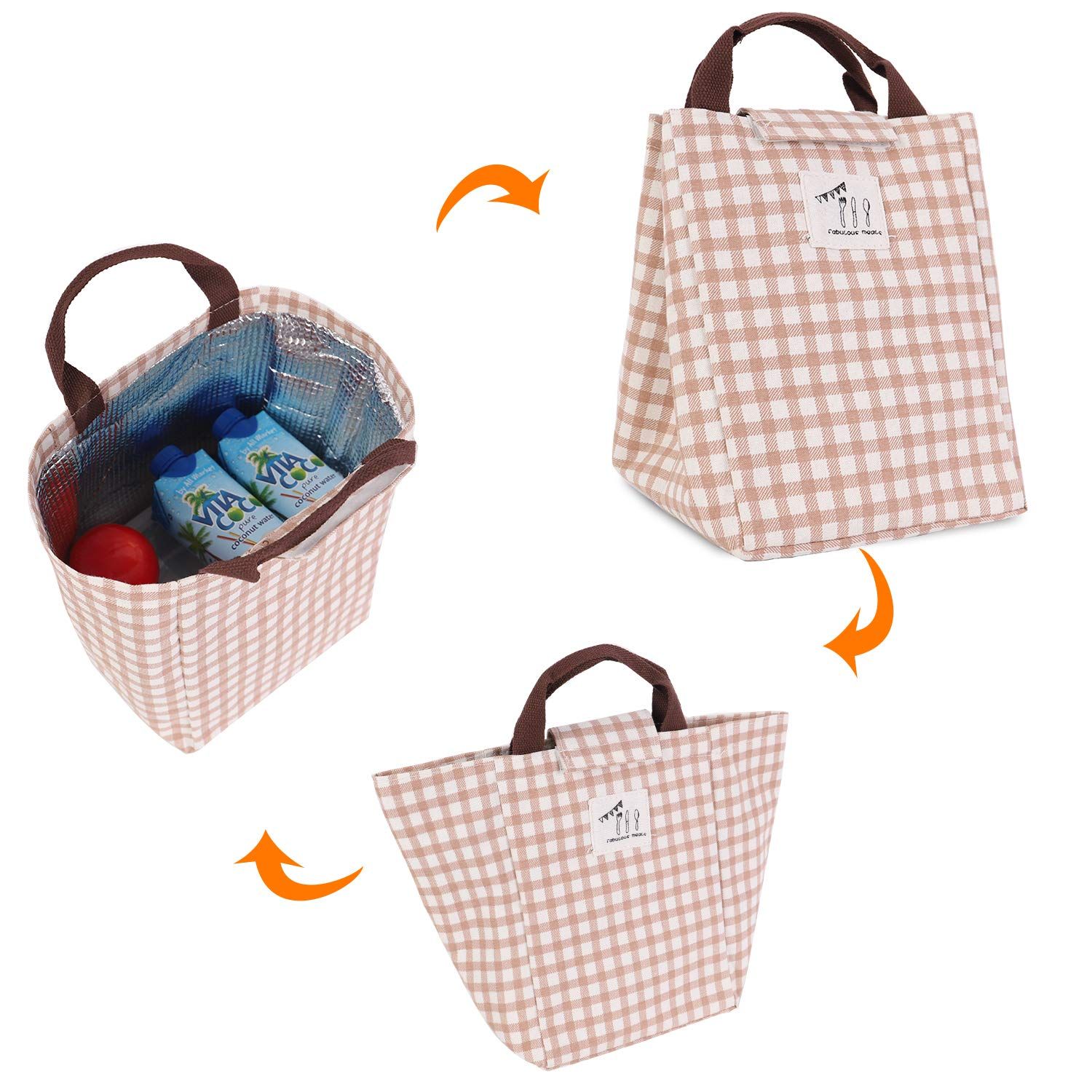HOMESPON Reusable Lunch Bags Printed Canvas Fabric with Insulated Waterproof Aluminum Foil Kids Lunch Box Tote Handbag for Women Students Blue Shark