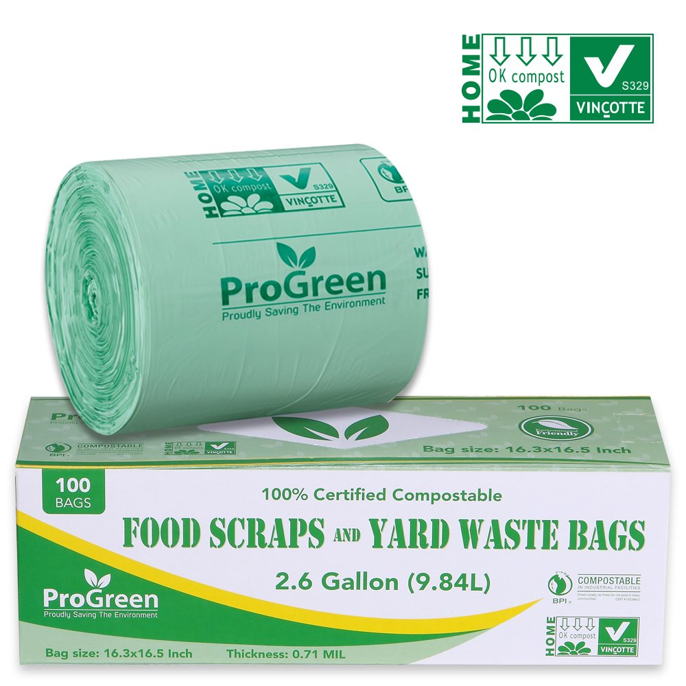 ProGreen 100% Compostable Bags 2.6 Gallon, Extra Thick 0.71 Mil, 100 Count, Small Kitchen Trash Bags, Food Scraps Yard Waste Bags, Biodegradable ASTM D6400 BPI and VINCOTTE Certified.