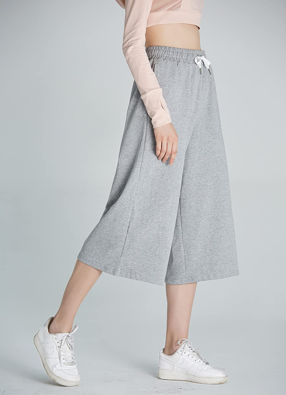 Women Drawstring Waist Loose Wide Leg Crop Pants Lounge Jogger Sweatpants with Pockets