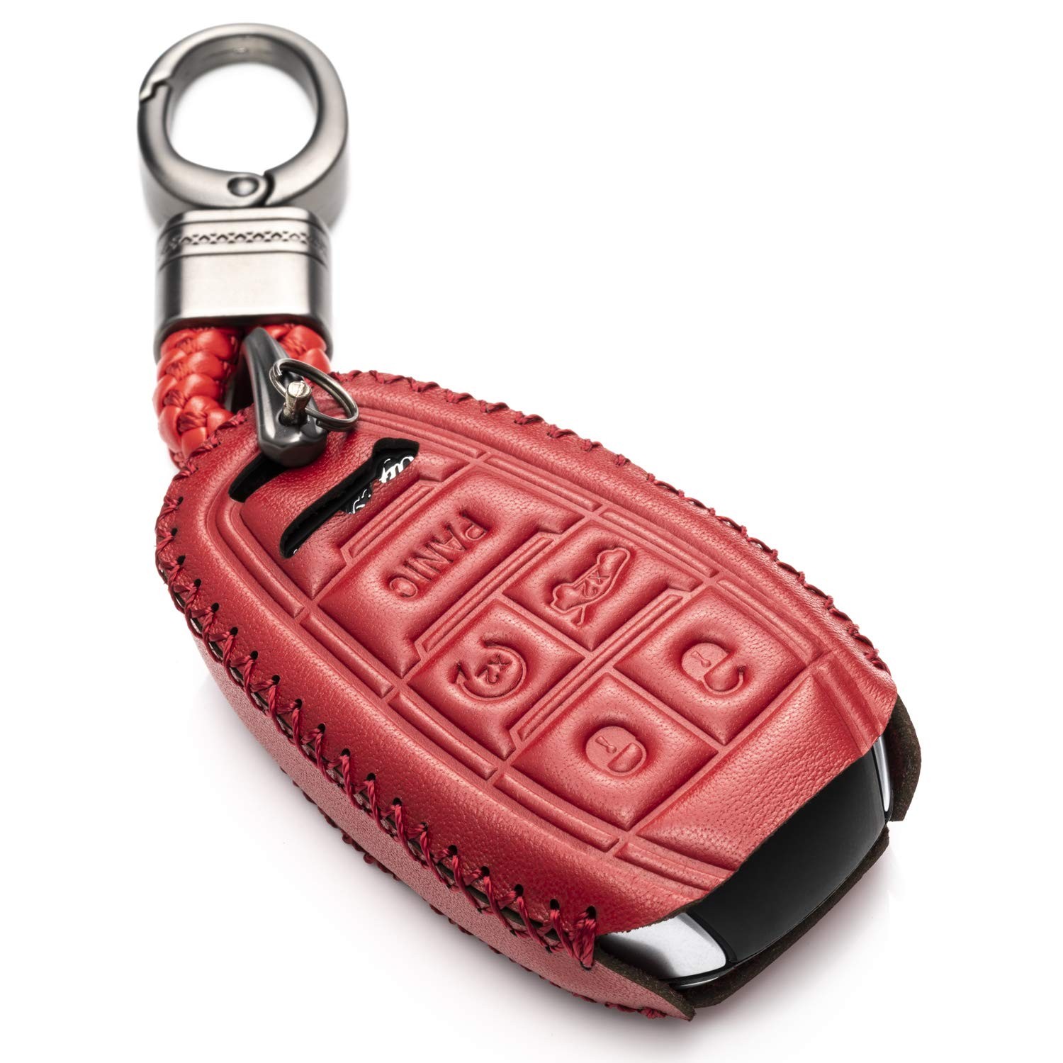 Vitodeco Genuine Leather Smart Key Fob Case Cover Protector with Leather Key Chain for 2017-2019 Alfa Romeo Giulia, Stelvio, 4C Spider (5-Button, Red)