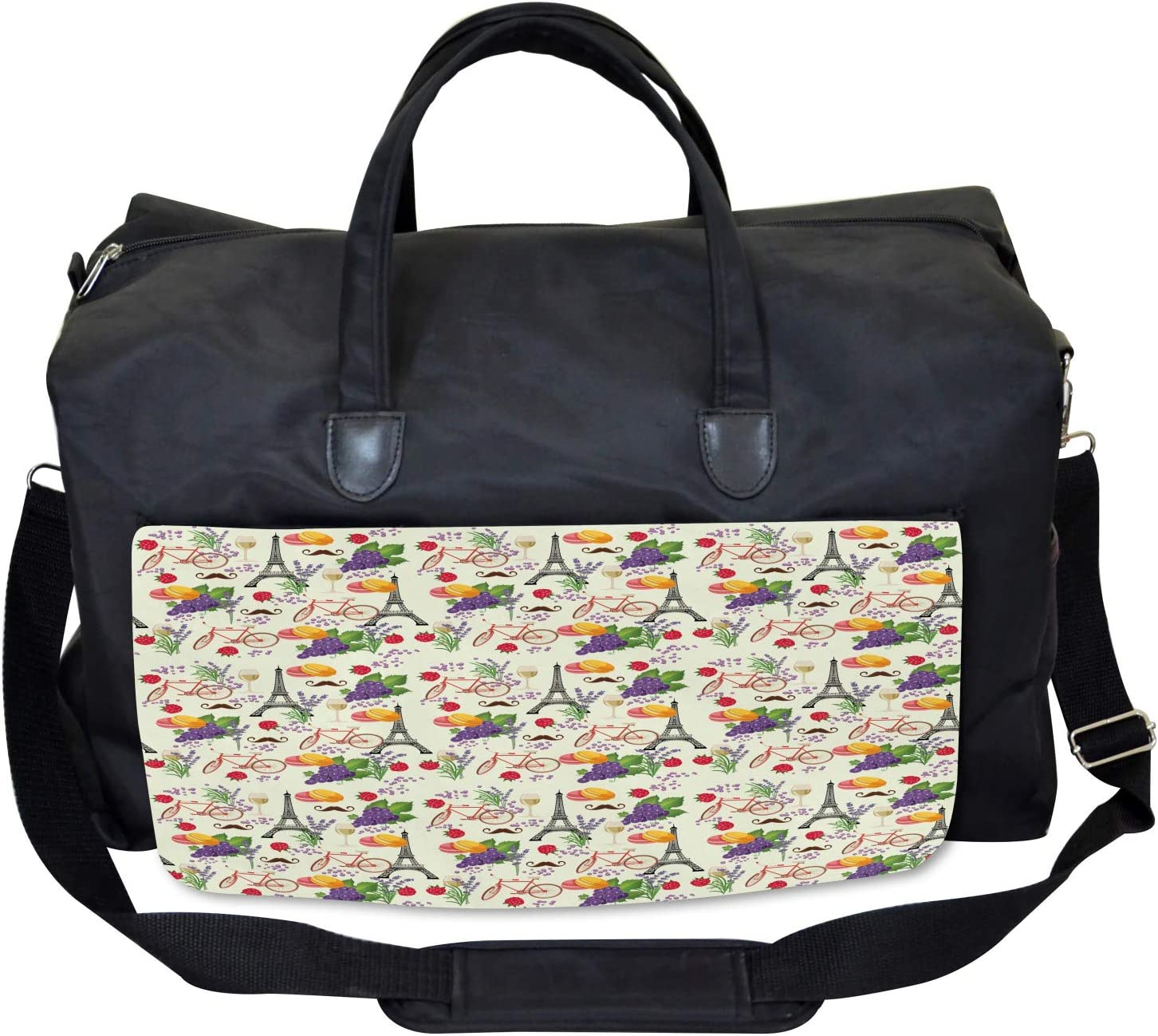 Ambesonne Colorful Gym Bag French Wine Macarons Large Weekender Carry-on