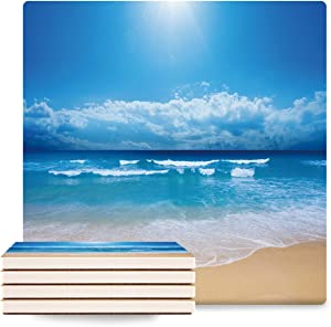 Coasters for Drinks, Ceramic Absorbent Coasters with Cork Base Stone Coasters Housewarming Gift for Home Decor Protects Furniture From Damage,Blue Sandy Beach Summer Sunshine Ocean Set of 8