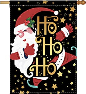 Cute Christmas Garden Flag Santa Claus HoHoHo Winter Holiday Decorative Home Garden Flag Decor Banner for Outside - Farmhouse Christmas Flag Yard Outdoor Decoration 28 x 40 Inch(Double Sided)