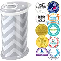 Ubbi Money Saving, No Special Bag Required, Steel Odor Locking Diaper Pail, Gray Chevron,One Size