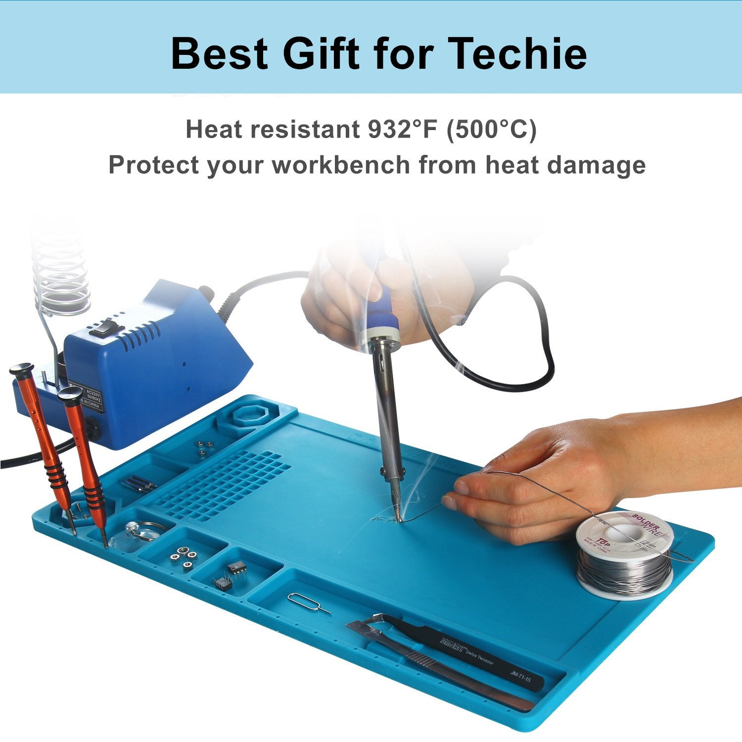 SEASWAL Silicone Solder Mat, Magnetic Heat Insulation Work Mat, with Tools Parts Organizer Electronics Repair Mat for Soldering Iron, Heat Gun, Phone and Computer Repair 15''x8.3'' Blue by SEASWAL (Image #5)