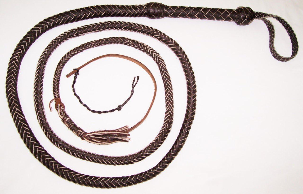 8 Foot 12 Plait Dark Brown SNAKE Whip Real Leather Bullwhip Bull whip