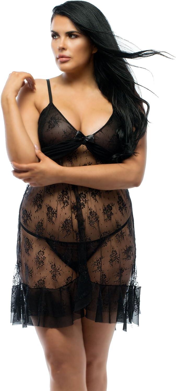 Perfect4U Plus Size Black Lace Babydoll Nightwear with Ruffle