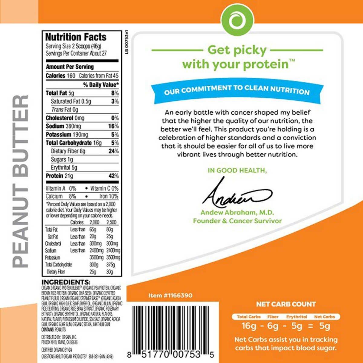 Orgain Organic Plant Based Protein Powder, Creamy Chocolate Fudge - Vegan, Low Net Carbs, Non Dairy, Gluten Free, Lactose Free, No Sugar Added, Soy Free, Kosher, Non-GMO (.2.74 Lb, PeanutButter)