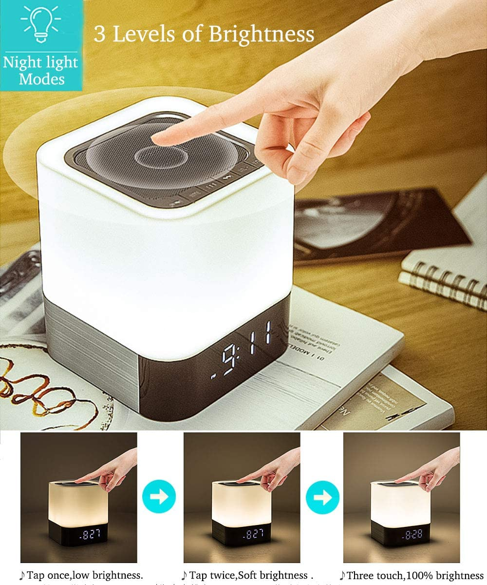 Night Lights Bluetooth Speaker,HoaBoly Alarm Clock Wireless Bluetooth Speakers,Touch Sensor Bedside Lamp,Color Changing Night Lights for Kids,MP3 Music Player, Speakerphone TF Card AUX-in Supported