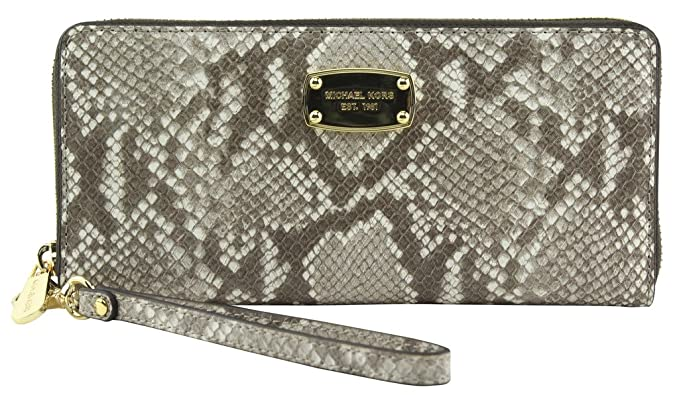e624764a1a41 MICHAEL KORS Travel Continental Embossed Leather Python Wallet DK Sand at  Amazon Women's Clothing store: