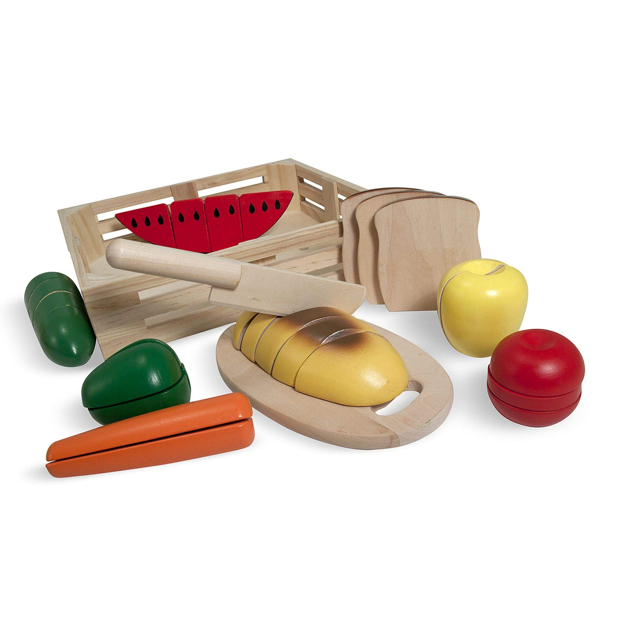 Melissa & Doug Cutting Food Wooden Play Food (Pretend Play, Self-Stick Tabs, Sturdy Wooden Construction, 2.8'' H x 12'' W x 11'' L, Great Gift for Girls and Boys - Best for 3, 4, and 5 Year Olds) by Melissa & Doug