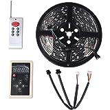 MOTOSTAR LEDテープライト RGB 5m 黒ベース 132点灯パターン フルカラー 16色設定可能 光が流れる 記憶型 調光機能 防水 両面テープ付き【一年保証付き】