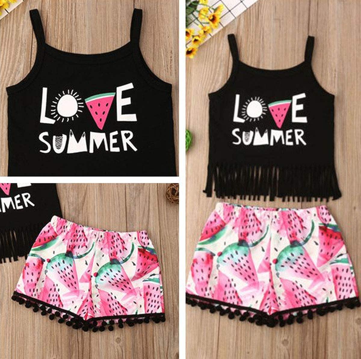 AiYannis6 2PCS Infant Toddler Baby Girls Summer Sling Letter Print Tassel Vest Sleeveless top Watermelon Shorts Suit