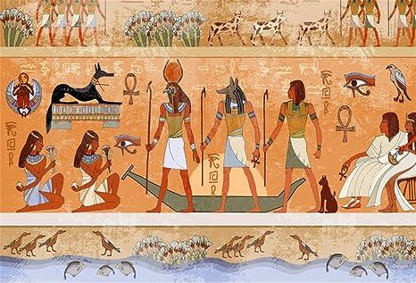 Lfeey 10x8ft Murals Ancient Egypt Backdrop Wallpaper Hieroglyphic Carvings Ancient Egyptian Mythology Gods Pharaohs Temple Photo Background Travel