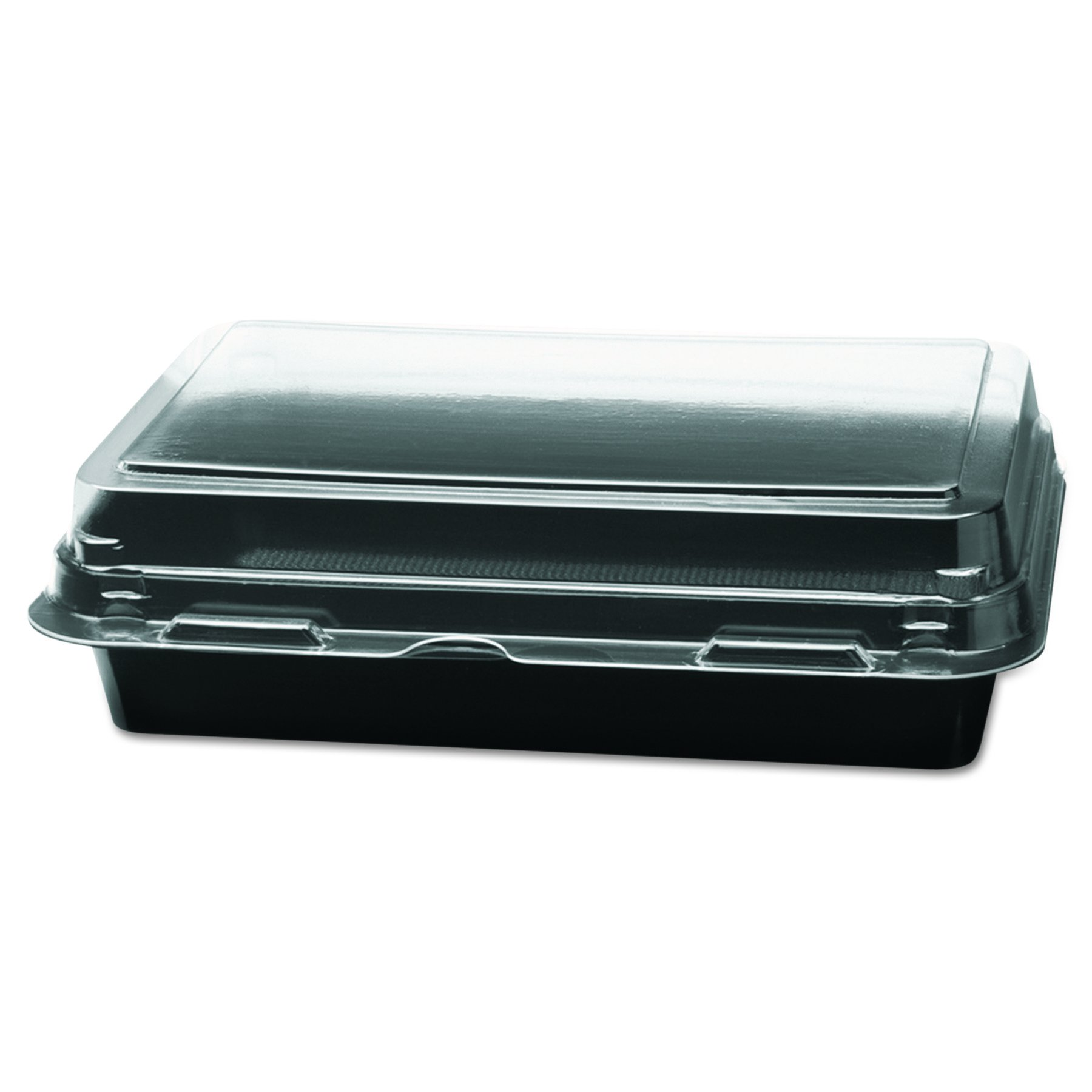 Solo 846612-PS94 8 in Black/Clear PS Plastic Hinged Container, 7.87 X 5.39 in (Case of 200)