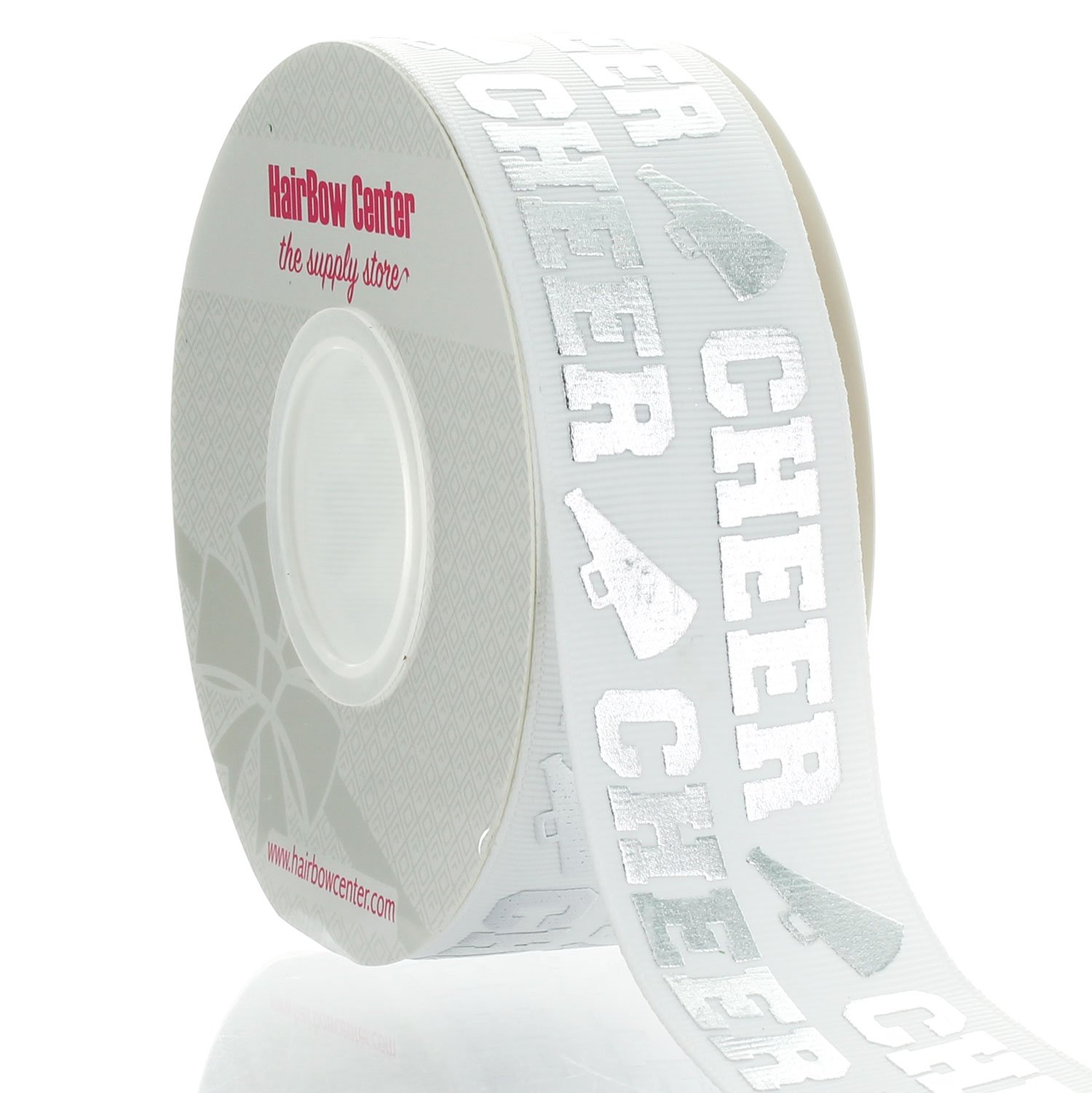 1.5'' Silver Cheer Text Grosgrain Ribbon 25yd