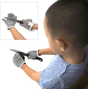 HTTMT- 1Pair XS 8-12yr Kid Cut Resistant Gloves High Performance Level 5 Protection Food Grade In/Outdoor [P/N: ET-TOOL032-XS X1-GRAY ]