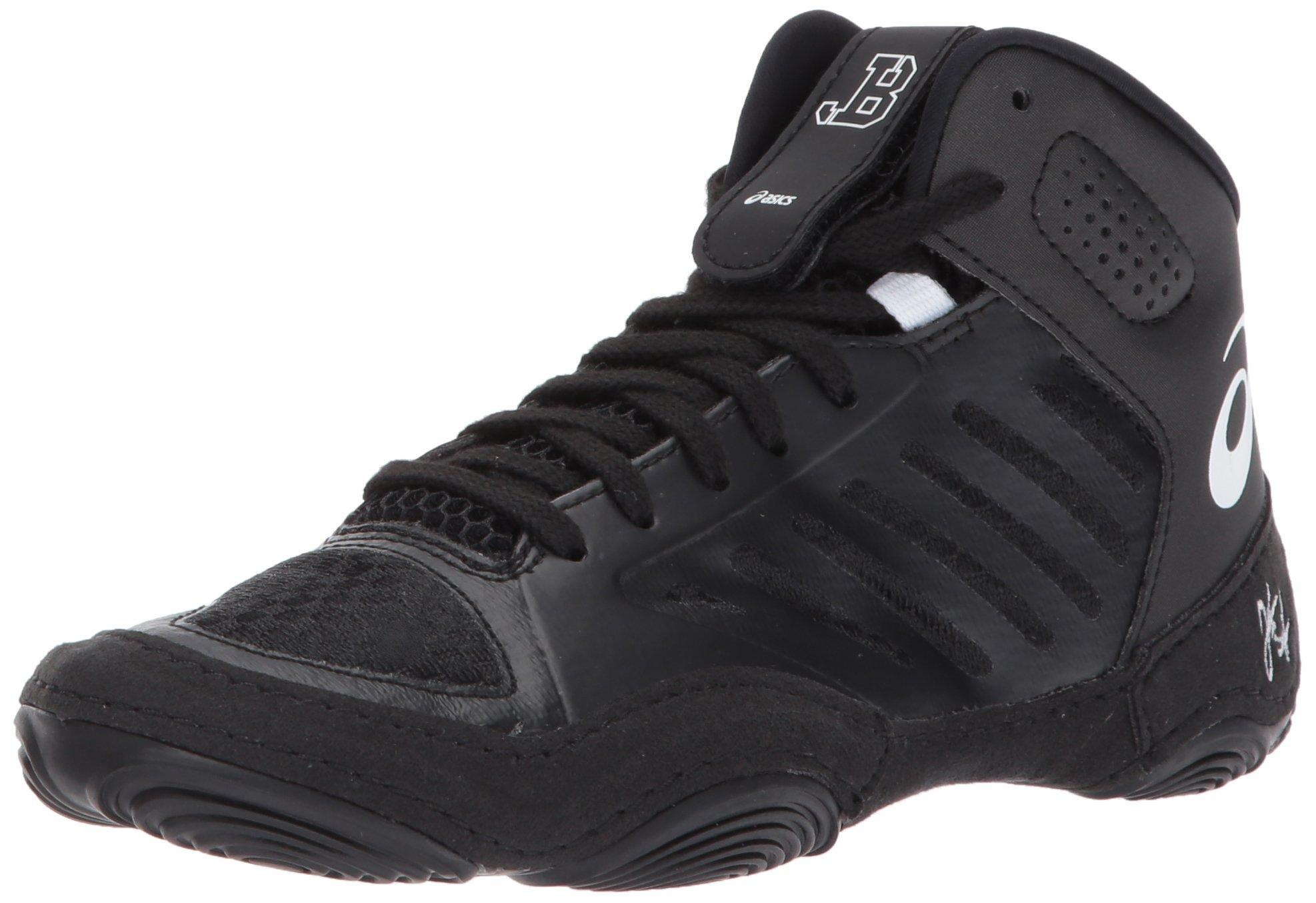ASICS Unisex-Kids JB Elite III GS Wrestling-Shoes, Black/White, 2.5 Medium US Big Kid by ASICS