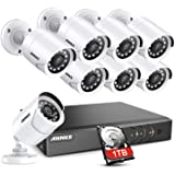 ANNKE 5MP Lite 8CH Security Surveillance Camera System H.265+ Wired DVR and (8)×1080P HD Weatherproof CCTV Camera System, 100