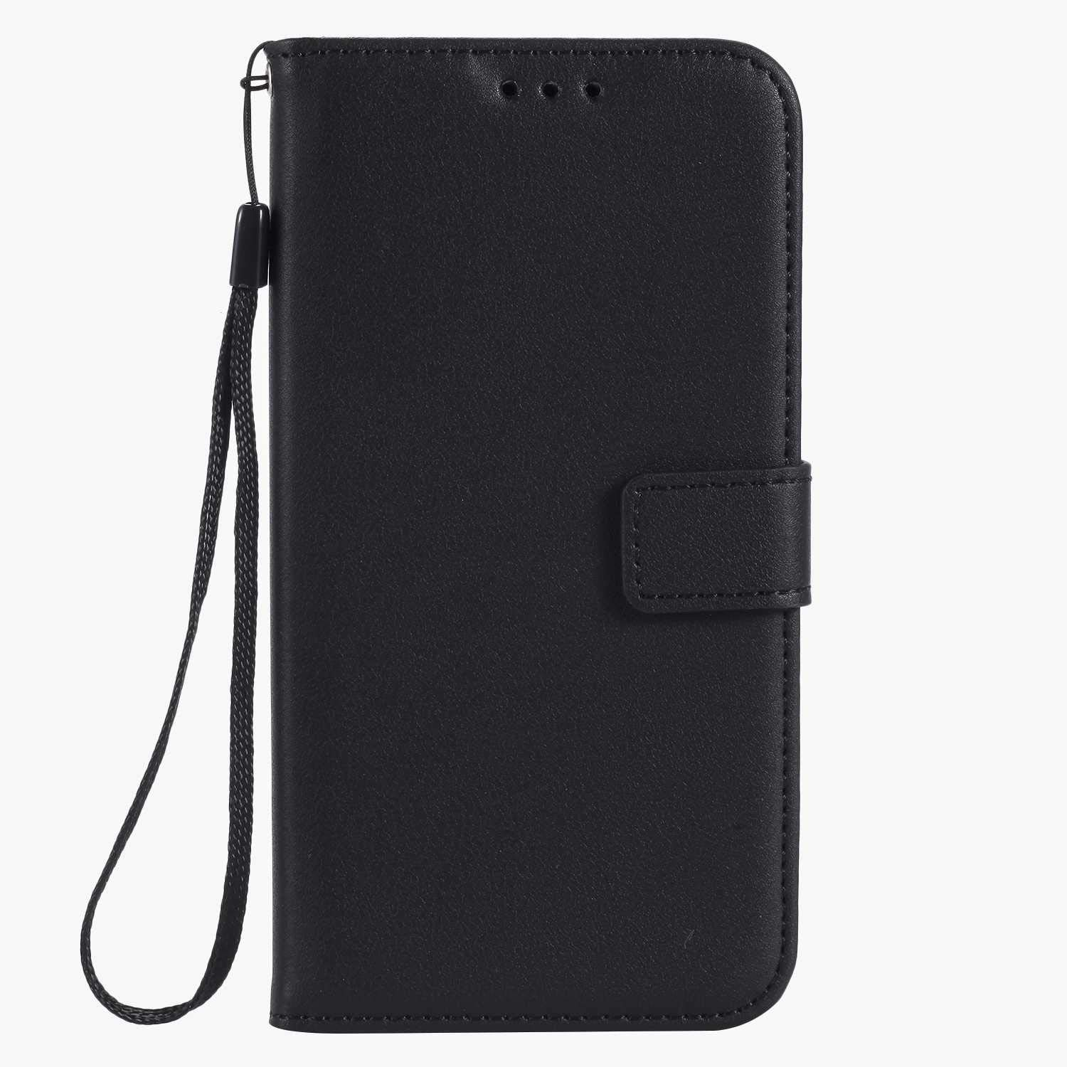 UNEXTATI Galaxy J5 Case, Leather Magnetic Closure Flip Wallet Case with Card Slot and Wrist Strap, Slim Full Body Protective Case (Black #7)