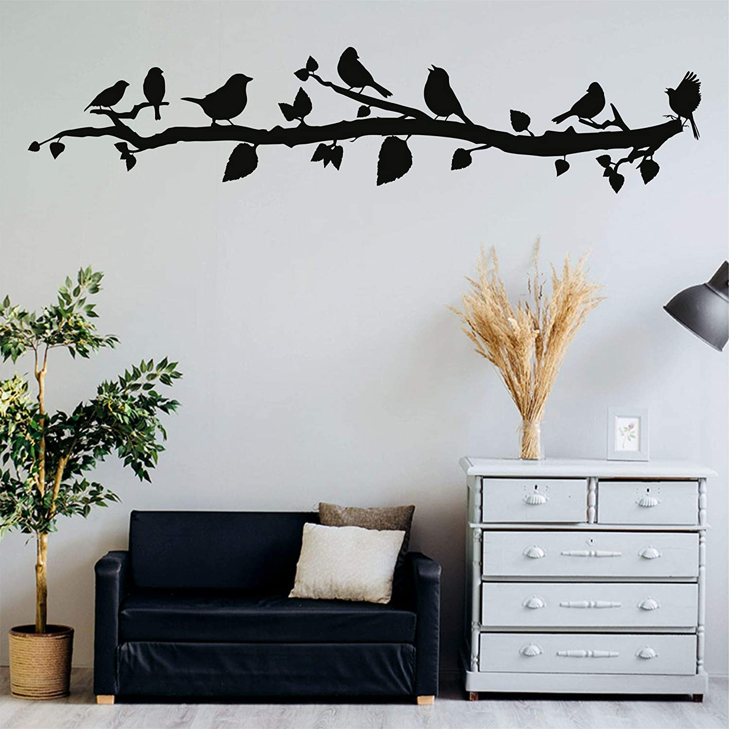"Metal Wall Decor, Birds on Branch, Metal Birds, Birds Sign Wall Art, Living Room Wall Art, Wall Hangings (47""W x 10""H / 118x26cm)"