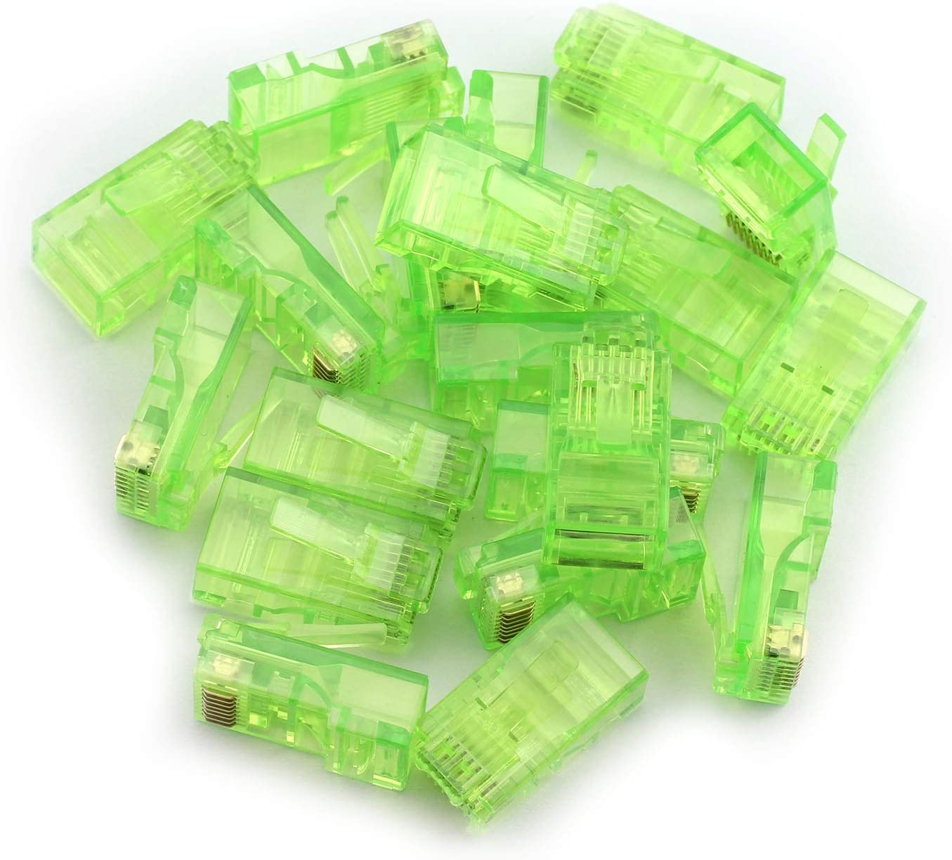 Tegg 20PCS RJ45 8P8C Modular Plug LAN Network RJ-45 Ethernet Cables Unshielded Cat5 CAT5e Connector Adapter Green Color