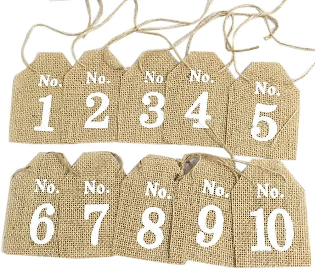 10Pcs Rustic Linen 1-10 Digital Hanging Tags with Jute Twine Table Numbers Signs Wine Bottle Hanging Card Gift Tags for Birthday Wedding Party Decoration