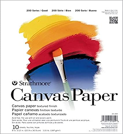 Shipping is Free Pro-Art Strathmore Canvas Paper Pad 9-inch x 12-Inch-10 Sheets