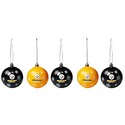 FOCO NFL Unisex 2016 5 Pack Shatterproof Ball Ornament Set - Pittsburgh Steelers Christmas Ornaments: Amazon.com
