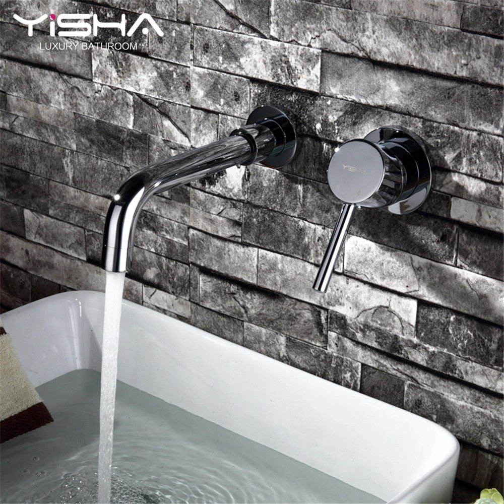 Modern simple copper hot and cold kitchen sink taps kitchen faucet Copper hot and cold wallmounted concealed basin faucet washbasin above counter basin faucet Suitable for all bathroom kitchen sinks