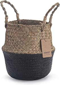 DOKOT Seagrass Belly Basket with Handles Natural Woven Planter Baskets for for Indoor Plants Storage Laundry (Black 7 inch D x 8 inch H)