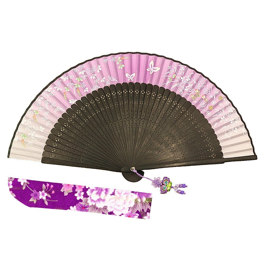 Wise Bird Chinese Japanese Folding Hand Fan, Fashion Accessories Vintage Retro Style 8'' Bamboo/Wood/Sandalwood Fan, Silk Pocket Purse Fan, Wedding Favors, Home Decor with Sleeve/Embroidery Tassel-F334