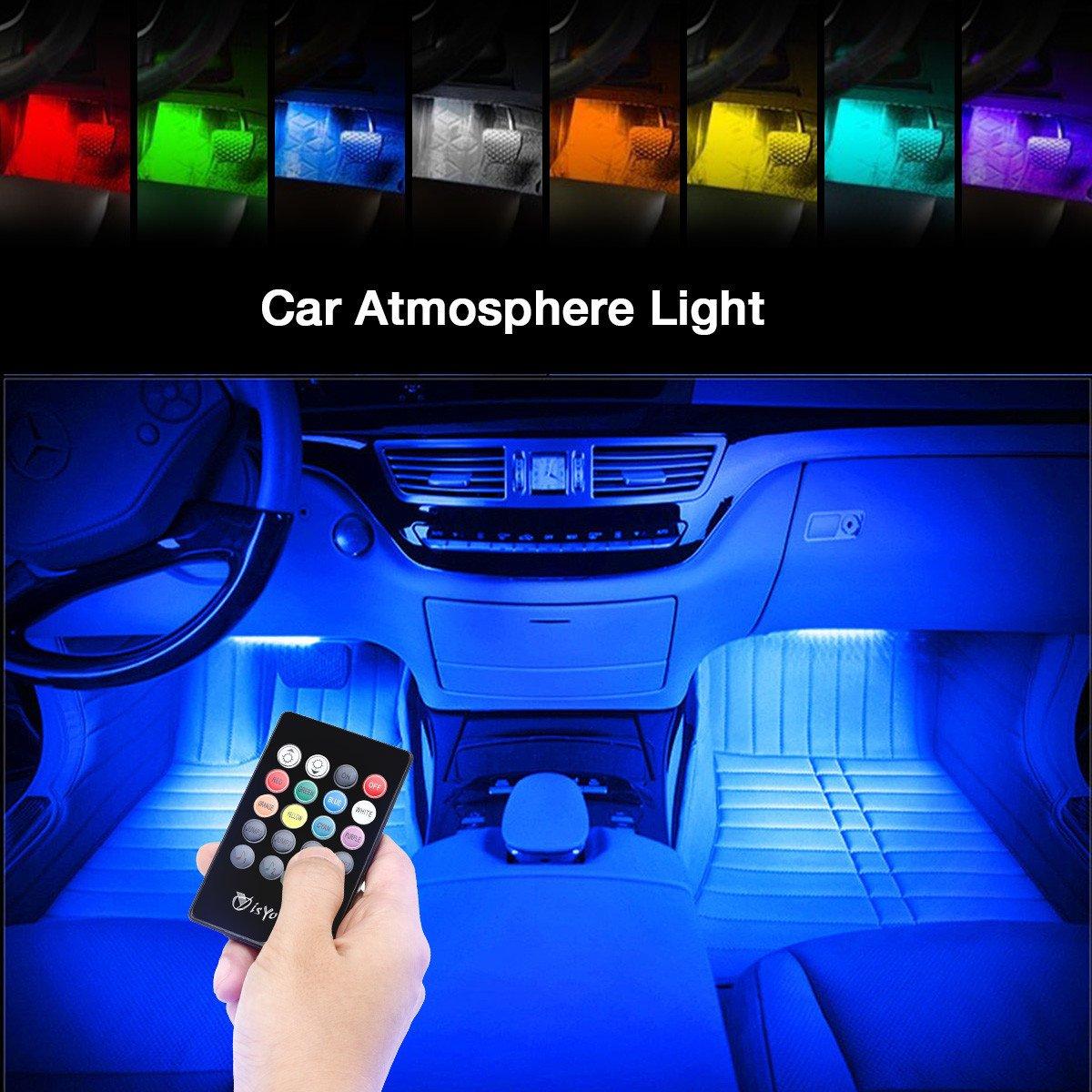 isYoung Lot de 4 Bande Lumières de Voiture 48 Lumières intérieur de Musique Multicolores de LED d\'Ambiance de Décoration, Télécommande sans Fil