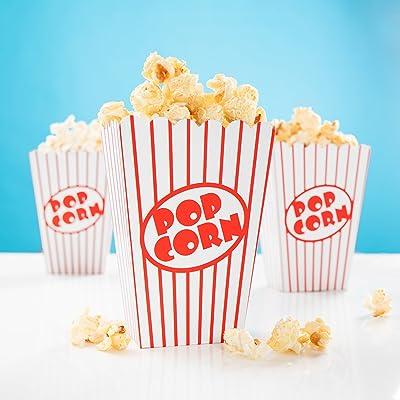 24 x Palomitas Bolsa Rayas Rojo y Blanco - Caja de Palomitas para Noche de Cine, Hollywood Party & Co: Hogar