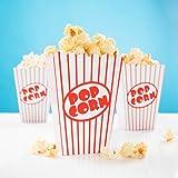 24x Popcorn Tüte rot-weiß gestreift - Popcorn Box für Kinoabend, Hollywood Party & Co