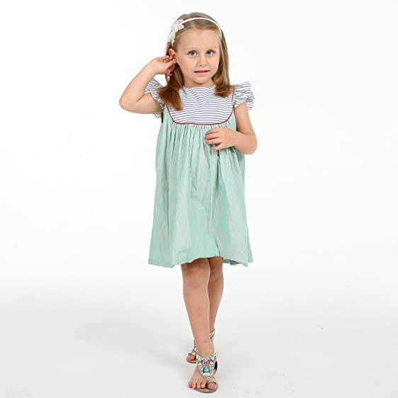 Cherry Crumble Soft Cotton Green Striper Dress For Girl 9 12 Months