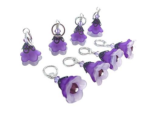 Stitch Markers Wine Clip Charms Purple Round Stitch Markers Clip Charms Crochet Markers