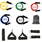 EXEFIT Resistance Band Exercise Workouts 13-Set With Door Anchor,Ankle Strap,Handle,Extra Strap,33-Page Instruction Book and Carry Bag For Total Body Exercise