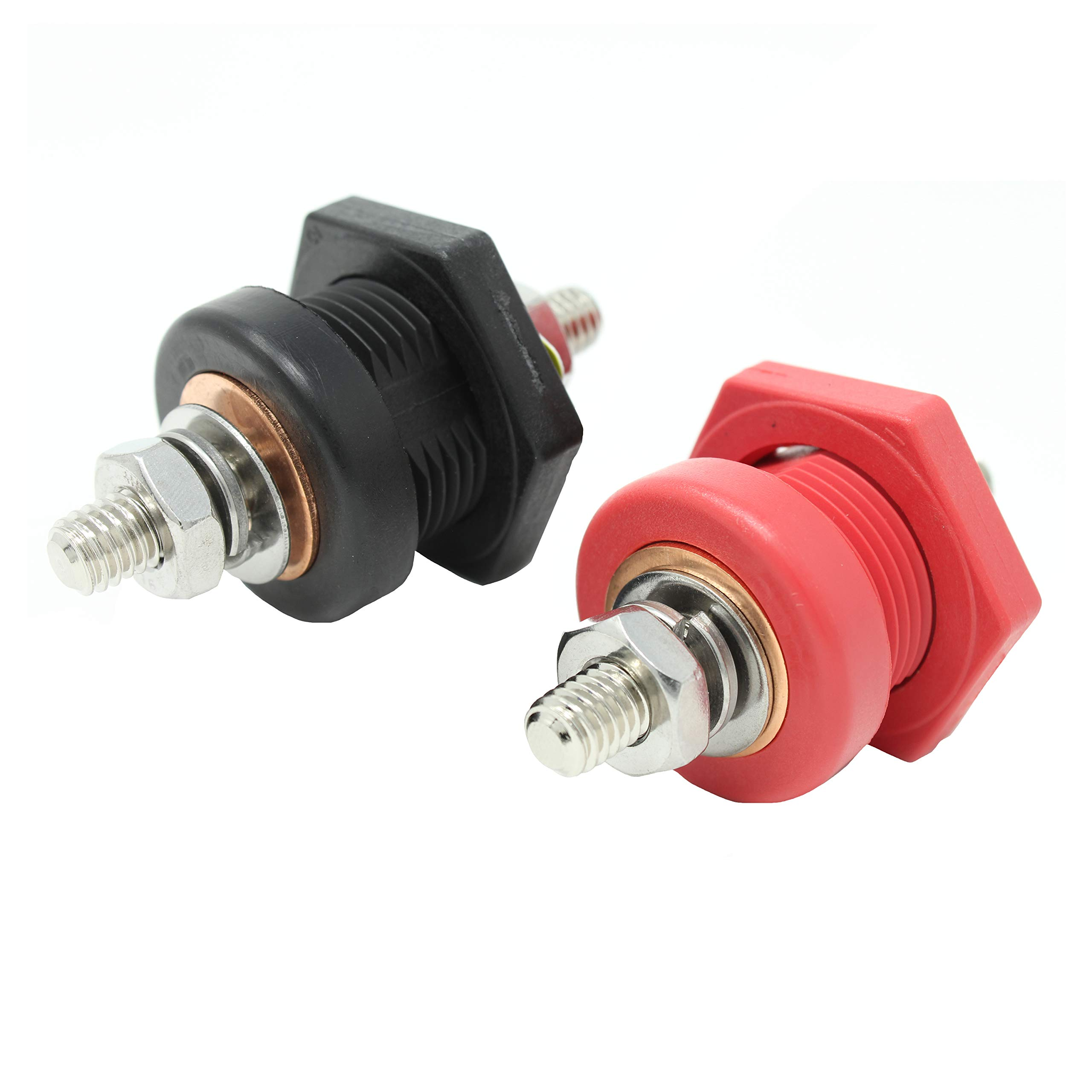 "Thru Panel Battery Cable Bulkhead Connectors with Copper Core 3/8"" Terminal Post, Red and Black"